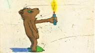Bär in Nöten, Zeichnung von Janosch