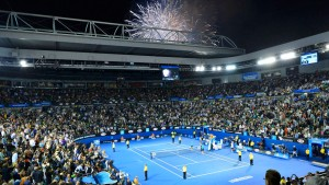 Fireworks explode in the sky in celebration of Australia Day during their women's singles final match between Victoria Azarenka of Belarus and Li Na of China at the Australian Open tennis tournament in Melbourne