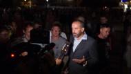 Alexander Ahrens, Oberbürgermeister von Bautzen, beantwortet Fragen von Journalisten.