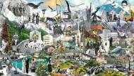 Ganz Österreich in einem Bild: Thomas Draschans Collage aus dem Jahr 2011 hing in der Wiener Hofburg, jetzt ist sie unter der Frankfurter Honsellbrücke zu sehen.