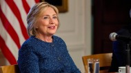 Hillary Clinton am 9. September in einer Bücherei in New York. Zwei Tage später erlitt die Präsidentschaftskandidatin der Demokraten einen Schwächeanfall.