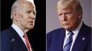 Eine Kombination zeigt Fotos des designierten Präsidentschaftskandidaten der Demokraten, Joe Biden, und des republikanischen Amtsinhabers Donald Trump.