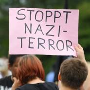 Demonstration nach einer rechten Gewalttat vergangenen Sommer in Hessen