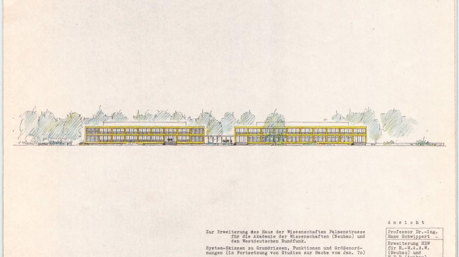 Dieser Dopplereffekt wurde nicht realisiert: Hans Schwippert legte 1970 den Entwurf für eine Erweiterung seines  Hauses der Wissenschaft vor.