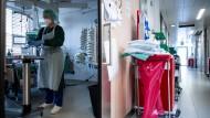Josephin Kampmann, Gesundheits- und Krankenpflegerin, steht in einem Zimmer der Corona-Intensivstation des Universitätsklinikums Essen und bereitet eine Infusion vor.