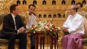 Cameron als erster europäischer Regierungschef in Burma