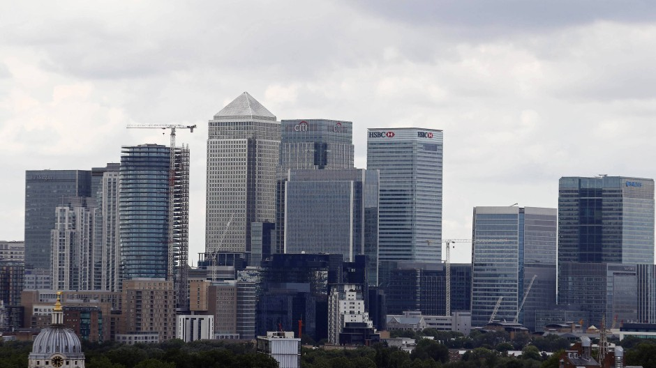 Londons Finanzviertel Canary Wharf.