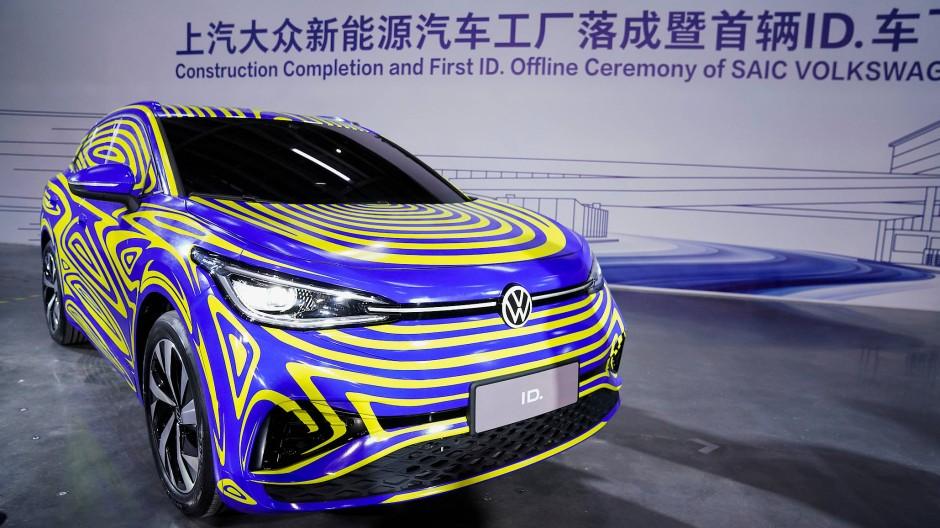 Ein Elektroauto von VW auf einem Event in Schanghai