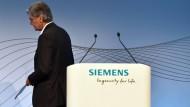 Siemens-Chef Joe Kaeser im August 2018 auf einer Pressekonferenz in München