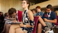 Finalisten: Die Teilnehmer im Goethe-Gymnasium hatten sich in Regionalentscheiden qualifiziert. Durchschnittliche Fehlerzahl: 17,9.