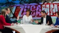 """Robert Habeck (rechts) bei """"Maybrit Illner"""" (ZDF) – im Schlagabtausch mit Jens Spahn, Marie-Christine Ostermann und Malu Dreyer. In der Mitte die Moderatorin."""
