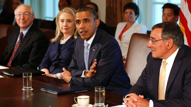 U.S. President Obama speaks at Cabinet Meeting at the White House in Washington