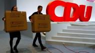 Letzte Vorbereitungen für den CDU-Parteitag am Freitag
