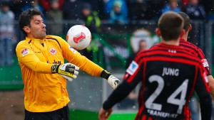 Oka Nikolov, substitution goalkeeper of Eintracht Frankfurt controls a ball with his chest during their German first division Bundesliga soccer match against Spvgg Greuther Fuerth in Fuerth