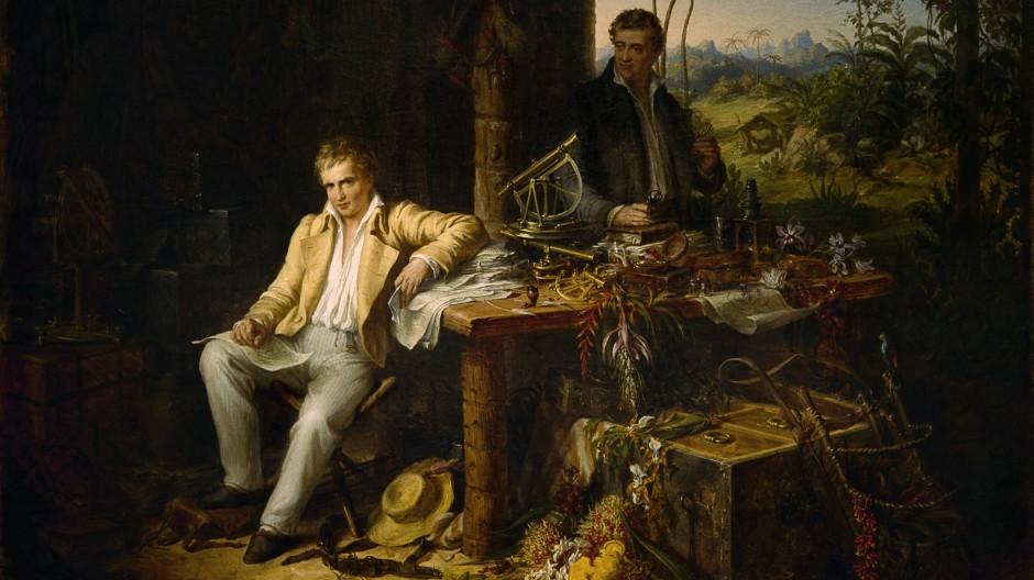 """""""Humboldt und Bonpland am Orinoco"""" auf der 1799–1800 unternommenen Forschungsreise in Venezuela. Gemälde von Eduard Ender (1822–1883)."""