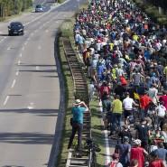 Demonstranten gegen die IAA auf der A648 in Frankfurt
