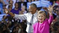 Obama erstmals auf Kundgebung mit Clinton