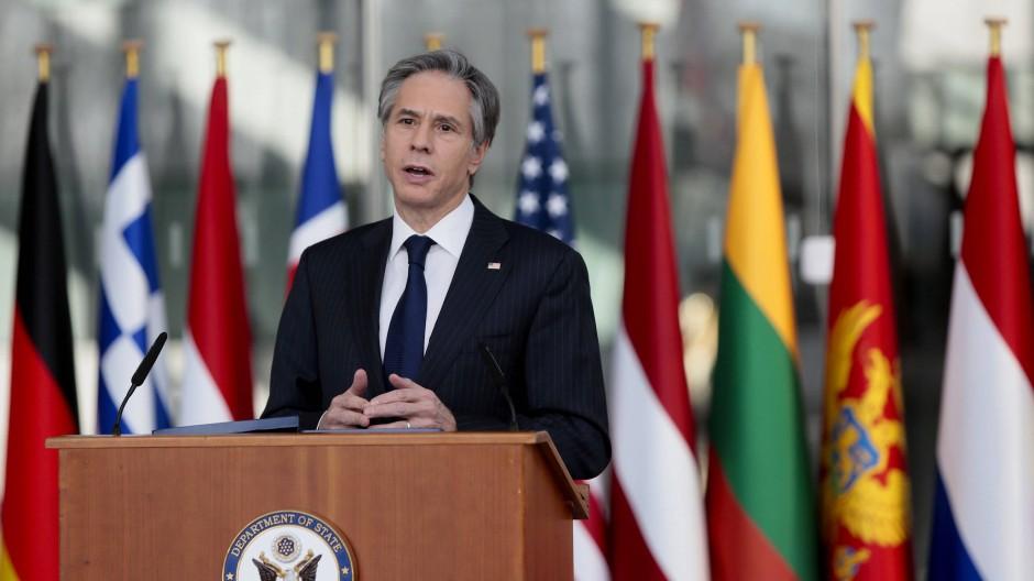 Bekenntnis zur Nato: Blinken am Mittwoch im Hauptquartier in Brüssel