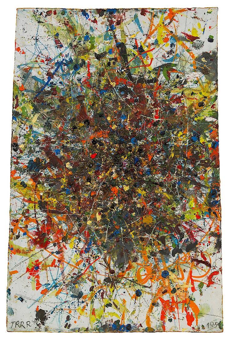 Arnulf Rainer, Atomisation, Öl auf Holz, 54,5 x 36,5