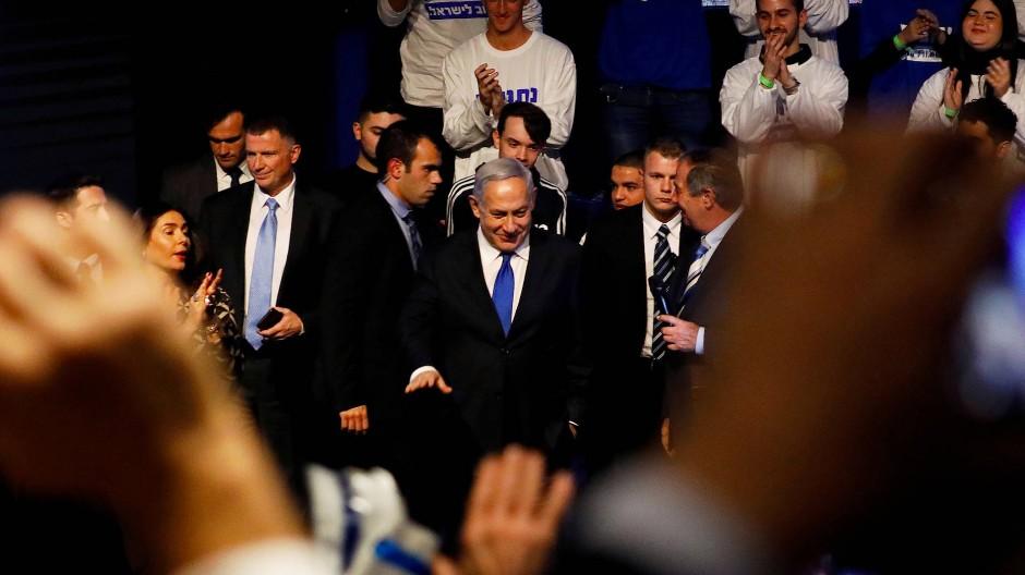Benjamin Netanjahu bei einem Wahlkampfauftritt in Rishon Lezion Mitte Februar.