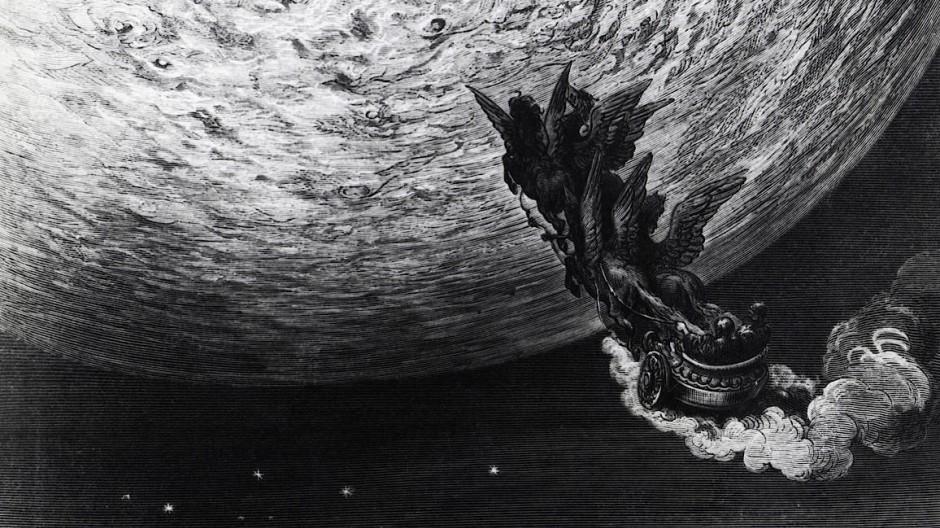 """Wie kommt man zum Mond? In Ariosts """"Rasendem Roland"""", hier von Doré illustriert, mit einer Kutsche."""