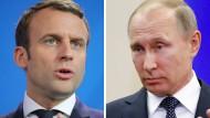 Pressekonferenz von Putin und Macron in Versailles