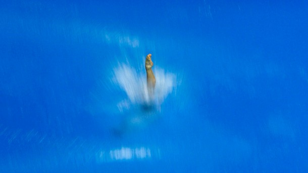 Ishimatsu of U.S. dives during semi-final round during Good Luck Beijing FINA Diving World Cup tournament