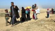 Einwohner flüchten aus Mossul