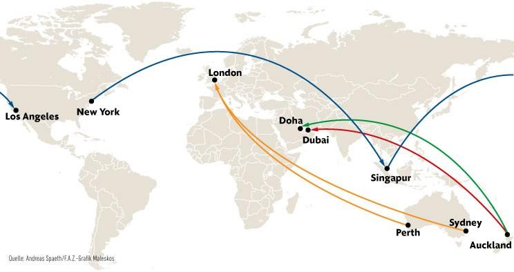 Doha Karte Welt.Bilderstrecke Zu Langstreckenflug Die Nonstopstrecke