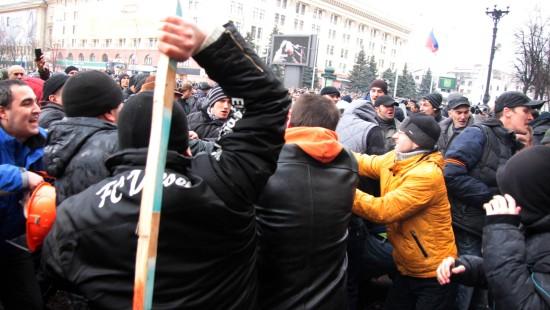 Demonstration in der ostukrainischen Stadt Charkiw