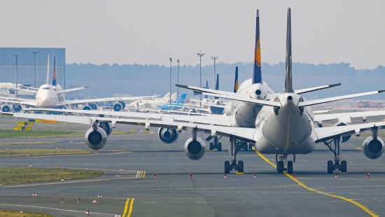 Frankfurter Airport wird zum Flugzeug-Parkplatz
