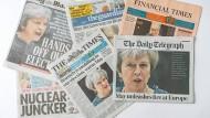 Titelseiten englischer Tageszeitungen vom 4. Mai 2017