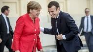 Verstehen sich: Merkel und Macron am vergangenen Donnerstag in Berlin.