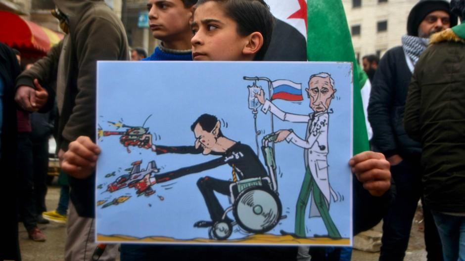 Der Kriegsherr Assad und sein Beschützer Putin: Hier als Karikatur