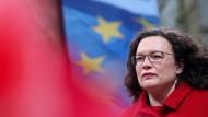 Die SPD-Partei- und Fraktionsvorsitzende Andrea Nahles im Mai bei einer Wahlkampfveranstaltung in Recklinghausen