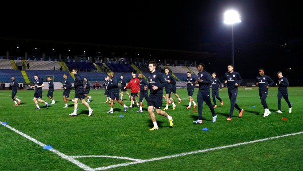 England players take part in a team training session at the Serravalle Stadium in San Marino