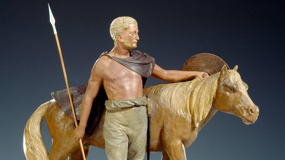 Reiter und Pferd: koloriertes Gipsmodell von Heinrich Keiling zur Veranschaulichung der germanischen Vorfahren, nach 1913