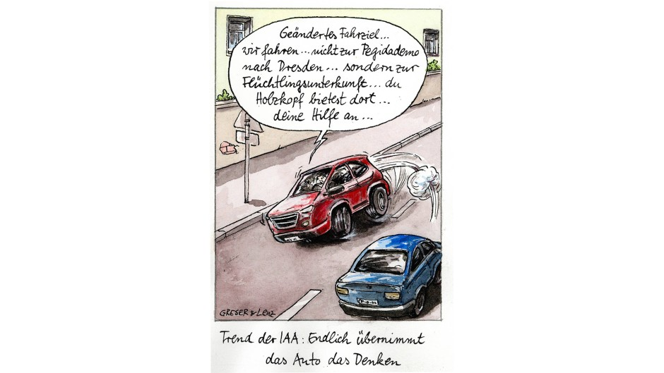 Karikatur Greser Und Lenz Iaa Endlich Bernimmt Das Auto Das Denken Witze F R Deutschland