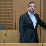 Der AfD-Politiker Sebastian Münzenmaier im Amtsgericht Mainz