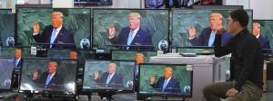 Fernsehübertragung von Donald Trumps Rede vor der UN-Vollversammlung