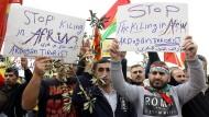Kurden demonstrieren im Norden Syriens gegen die türkischen Angriffe auf Afrin