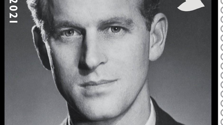 Eine der vier Sonderbriefmarken zu Ehren des verstorbenen Prinz Philip