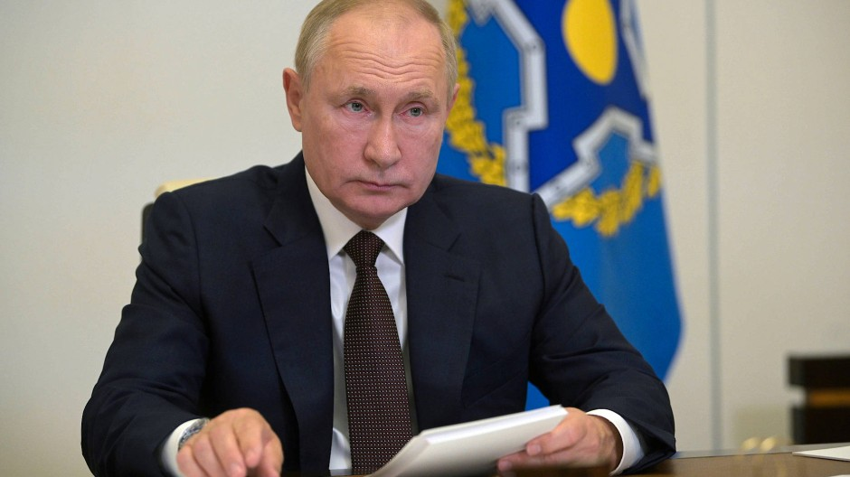 Wladimir Putin während der Videoschalte am Donnerstag in Moskau.