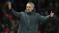 Manchester-United-Trainer José Mourinho beim Derby gegen Manchester City.