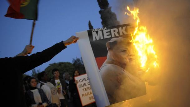 Protest gegen Angela Merkel