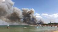 Rauch steigt aus dem Dannunziana Reservat, einem Pinienwald nahe der italienischen Stadt Pescara.