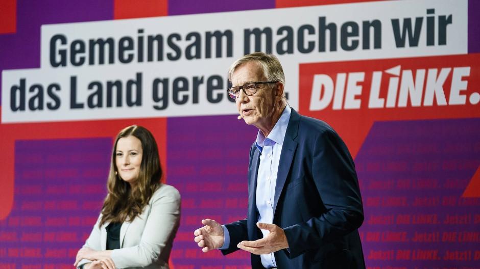 Die Parteivorsitzende der Linkspartei, Janine Wissler, und der Ko-Fraktionschef im Bundestag, Dietmar Bartsch, am 10. Mai in Berlin