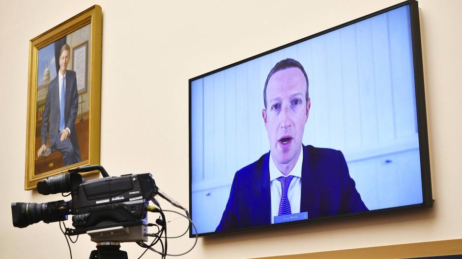 Facebook-Chef Mark Zuckerberg bei einer Anhörung via Videokonferenz im amerikanischen Kongress im Juli 2020