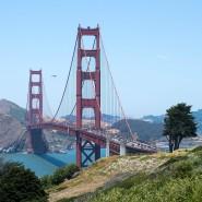 Die Golden Gate Bridge in San Francisco ist von Weitem zu sehen – und neuerdings ist sie bei starkem Wind auch aus der Ferne zu hören.