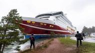 """Festgefahren: Die """"Grace"""" der Viking Line in Mariehamn zwischen Turku und Stockholm"""